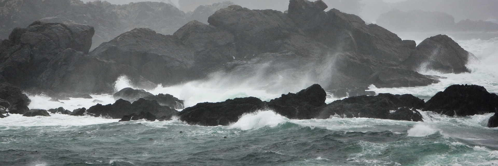 Pounding storm surge meets immovable rock outcroppings on Ucluelet's Wild Pacific Trail