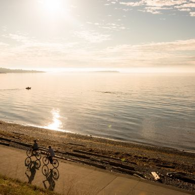 Two people on bicycles cycling along the coast in BC.