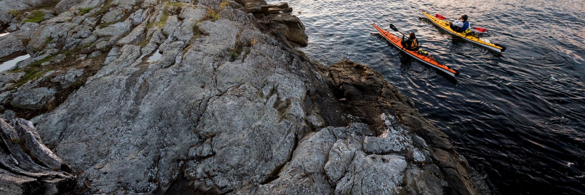 A couple kayaking off the coast of Pender Island