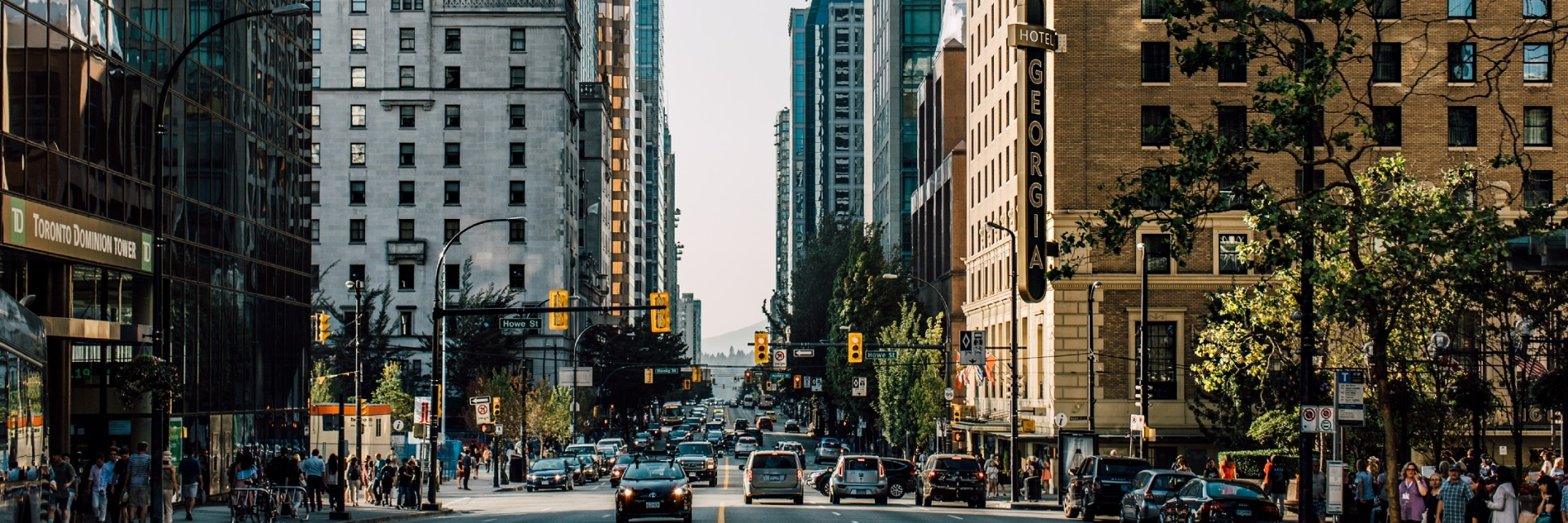 Georgia Street, Downtown Vancouver (can see the Rosewood Hotel Georgia, Fairmont Hotel Vancouver and Shangri-La Hotel)
