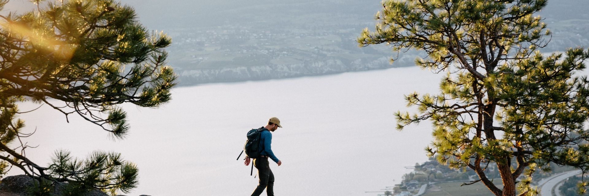 Early morning hike up Giant's Head Mountain above the town of Summerland and Okanagan Lake