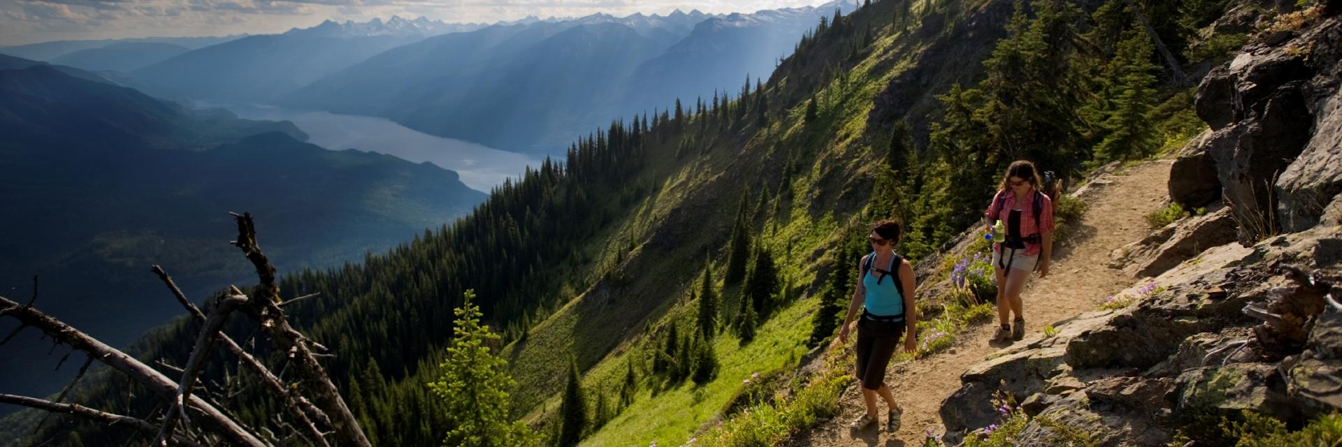 Two people hiking in British Columbia.