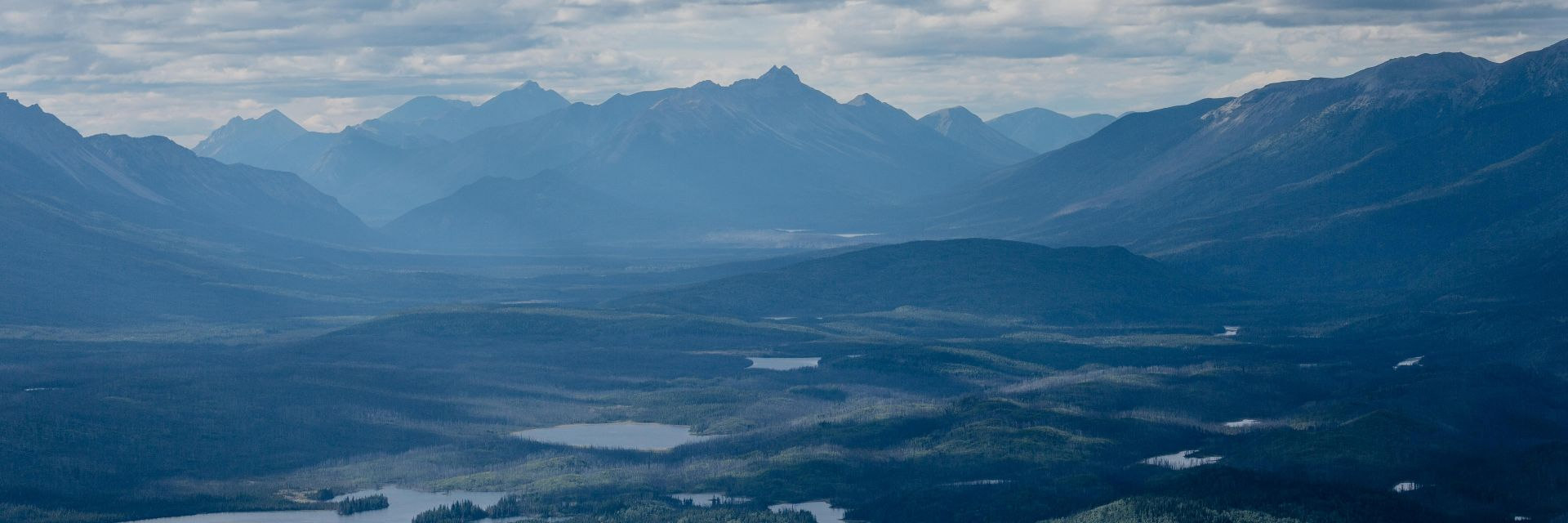Hiking overview shot of at Shoulder Mountain Alpine Camp in Stikine Region