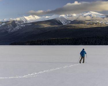 Skier Traversing Mountains