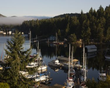 Boats in the marina at Pender Harbour on the Sunshine Coast