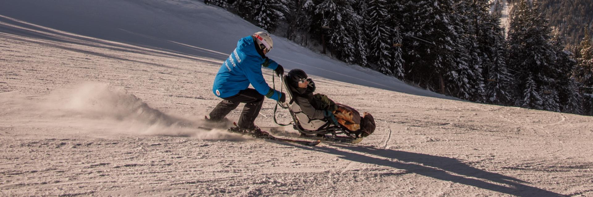 Adaptive skiing at Panorama Mountain Resort. An accessible ski experience at Panorama Mountain Resort.
